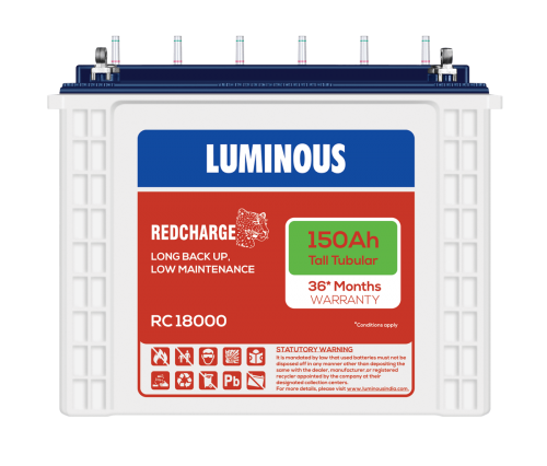 Luminous Red Charge RC18000 150Ah Tall Tubular Inverter Battery