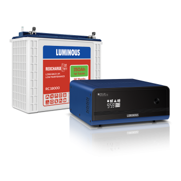 LUMINOUS ZELIO 1100 INVERTER + RED CHARGE RC 18000 150AH BATTERY