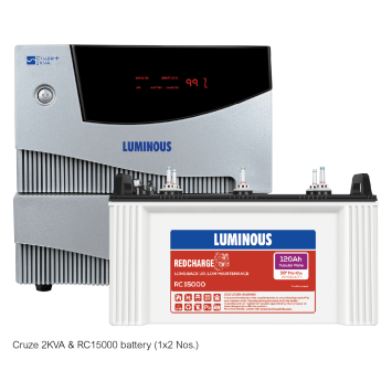 Luminous Cruze 2KVA Inverter with Red Charge RC15000 120Ah Battery Combo
